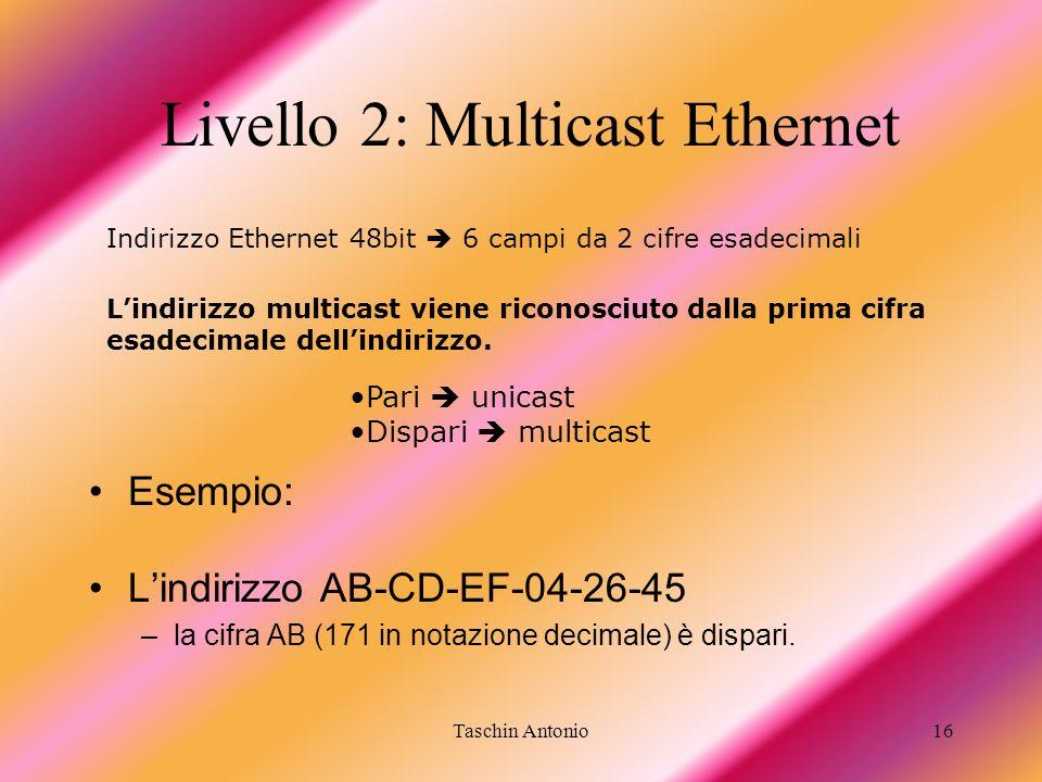 Taschin Antonio16 Livello 2: Multicast Ethernet Esempio: Lindirizzo AB-CD-EF-04-26-45 –la cifra AB (171 in notazione decimale) è dispari. Indirizzo Et