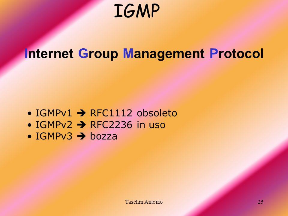 Taschin Antonio25 Internet Group Management Protocol IGMP IGMPv1 RFC1112 obsoleto IGMPv2 RFC2236 in uso IGMPv3 bozza