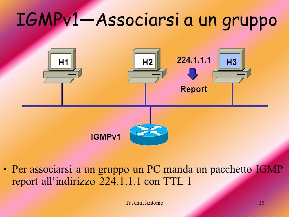 Taschin Antonio28 224.1.1.1 Report IGMPv1Associarsi a un gruppo Per associarsi a un gruppo un PC manda un pacchetto IGMP report allindirizzo 224.1.1.1