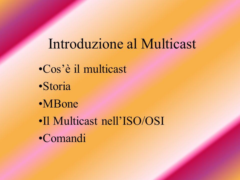 Introduzione al Multicast Cosè il multicast Storia MBone Il Multicast nellISO/OSI Comandi