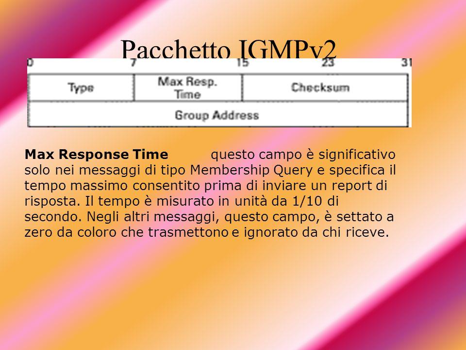Pacchetto IGMPv2 Max Response Timequesto campo è significativo solo nei messaggi di tipo Membership Query e specifica il tempo massimo consentito prim
