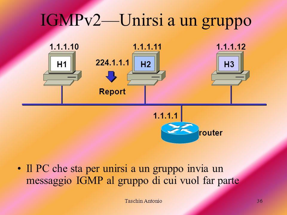 Taschin Antonio36 224.1.1.1 Report H1 H3 1.1.1.101.1.1.111.1.1.12 IGMPv2Unirsi a un gruppo Il PC che sta per unirsi a un gruppo invia un messaggio IGM