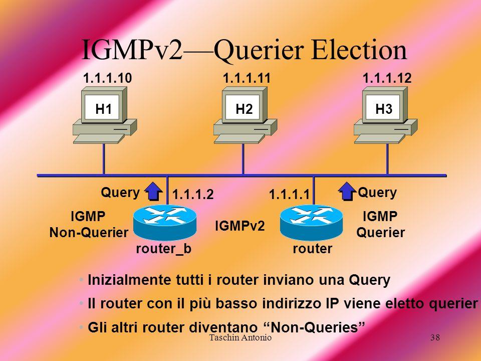 Taschin Antonio38 IGMPv2Querier Election IGMPv2 1.1.1.11.1.1.2 H1 H2H3 Inizialmente tutti i router inviano una Query Query Il router con il più basso