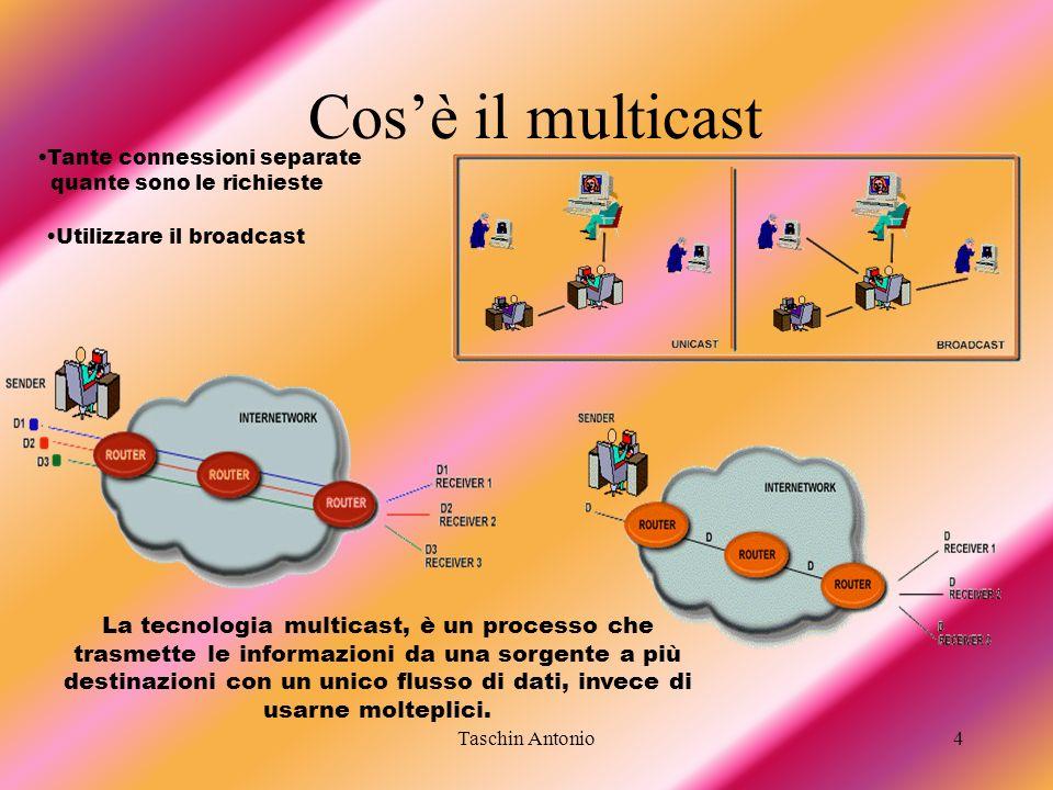 Taschin Antonio4 Cosè il multicast La tecnologia multicast, è un processo che trasmette le informazioni da una sorgente a più destinazioni con un unic