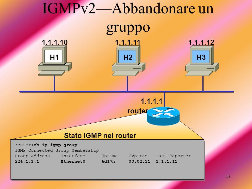 Taschin Antonio41 IGMPv2Abbandonare un gruppo router>sh ip igmp group IGMP Connected Group Membership Group Address Interface Uptime Expires Last Repo