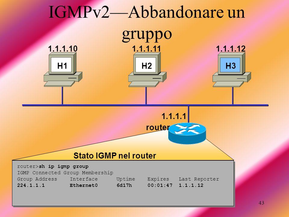 Taschin Antonio43 IGMPv2Abbandonare un gruppo router>sh ip igmp group IGMP Connected Group Membership Group Address Interface Uptime Expires Last Repo