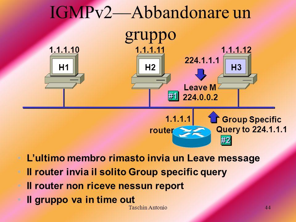 Taschin Antonio44 IGMPv2Abbandonare un gruppo Lultimo membro rimasto invia un Leave message 1.1.1.1 H1 H3 1.1.1.101.1.1.111.1.1.12 H3 Leave M 224.0.0.