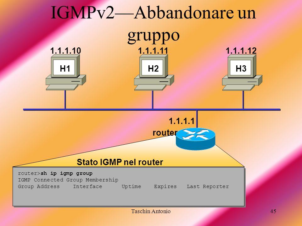 Taschin Antonio45 IGMPv2Abbandonare un gruppo router>sh ip igmp group IGMP Connected Group Membership Group Address Interface Uptime Expires Last Repo