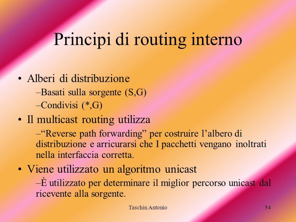 Taschin Antonio54 Principi di routing interno Alberi di distribuzione –Basati sulla sorgente (S,G) –Condivisi (*,G) Il multicast routing utilizza –Rev