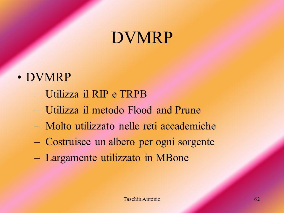 Taschin Antonio62 DVMRP –Utilizza il RIP e TRPB –Utilizza il metodo Flood and Prune –Molto utilizzato nelle reti accademiche –Costruisce un albero per