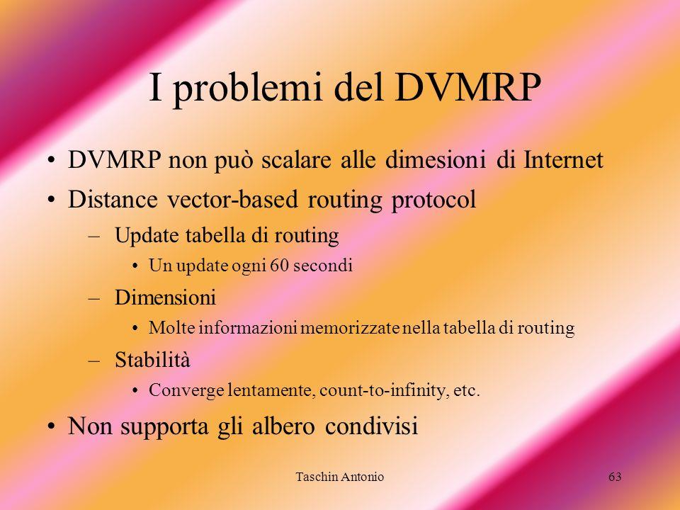 Taschin Antonio63 I problemi del DVMRP DVMRP non può scalare alle dimesioni di Internet Distance vector-based routing protocol –Update tabella di rout