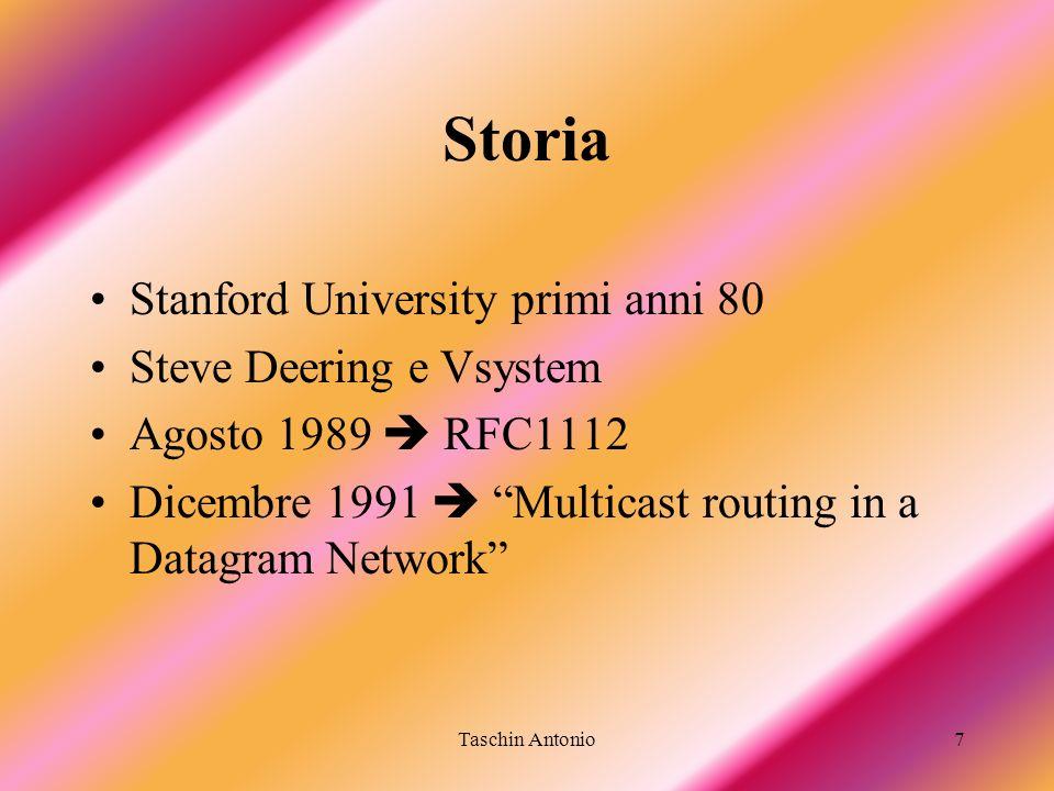 Taschin Antonio78 PIM Sparse Mode (RFC 2362) Supporta sia gli alberi condivisi che basati sulla sorgente Utilizza un Rendezvous Point (RP) –Le sorgenti si registrano nellRP e inviano il loro traffico attravero lRP –Richiesta esplicita di ottenere il flusso multicast –Indipendente dai protocolli unicast –Ha posto le basi per il routing esterno (inter-domain) Adatto per… –Per tutti I tipi di rete –Ottimale per gruppi che hanno receiver su WAN differenti