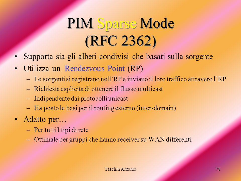 Taschin Antonio78 PIM Sparse Mode (RFC 2362) Supporta sia gli alberi condivisi che basati sulla sorgente Utilizza un Rendezvous Point (RP) –Le sorgent