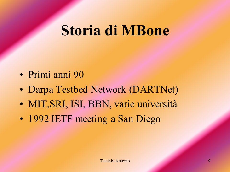 Taschin Antonio9 Storia di MBone Primi anni 90 Darpa Testbed Network (DARTNet) MIT,SRI, ISI, BBN, varie università 1992 IETF meeting a San Diego