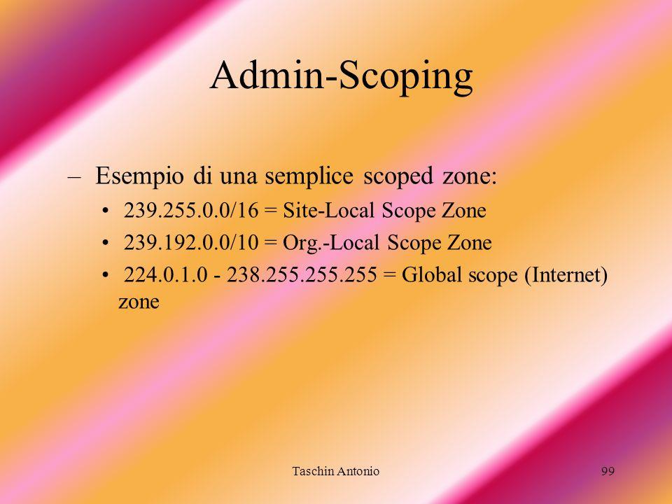 Taschin Antonio99 Admin-Scoping – Esempio di una semplice scoped zone: 239.255.0.0/16 = Site-Local Scope Zone 239.192.0.0/10 = Org.-Local Scope Zone 2