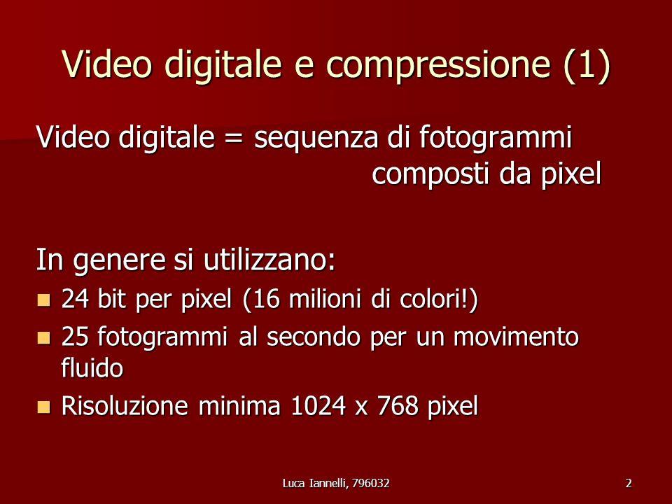 Luca Iannelli, 7960322 Video digitale e compressione (1) Video digitale = sequenza di fotogrammi composti da pixel In genere si utilizzano: 24 bit per pixel (16 milioni di colori!) 24 bit per pixel (16 milioni di colori!) 25 fotogrammi al secondo per un movimento fluido 25 fotogrammi al secondo per un movimento fluido Risoluzione minima 1024 x 768 pixel Risoluzione minima 1024 x 768 pixel