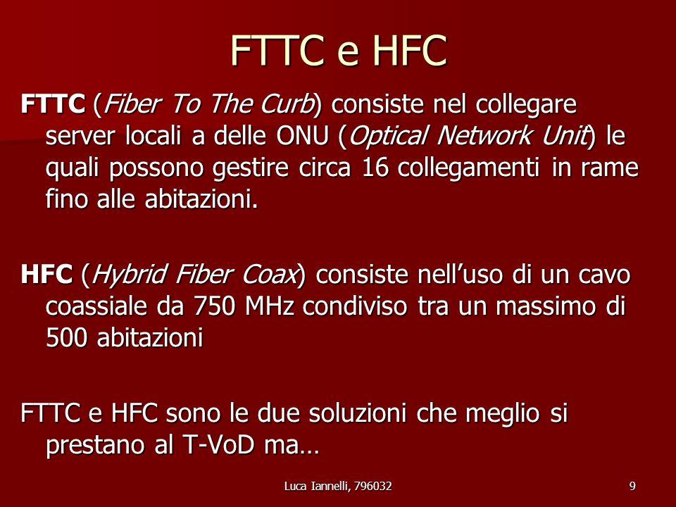 Luca Iannelli, 79603210 Sia FTTC che HFC richiedono stesura di nuovi cavi e nuove infrastrutture ma: HFC utilizza un cavo coassiale condiviso.