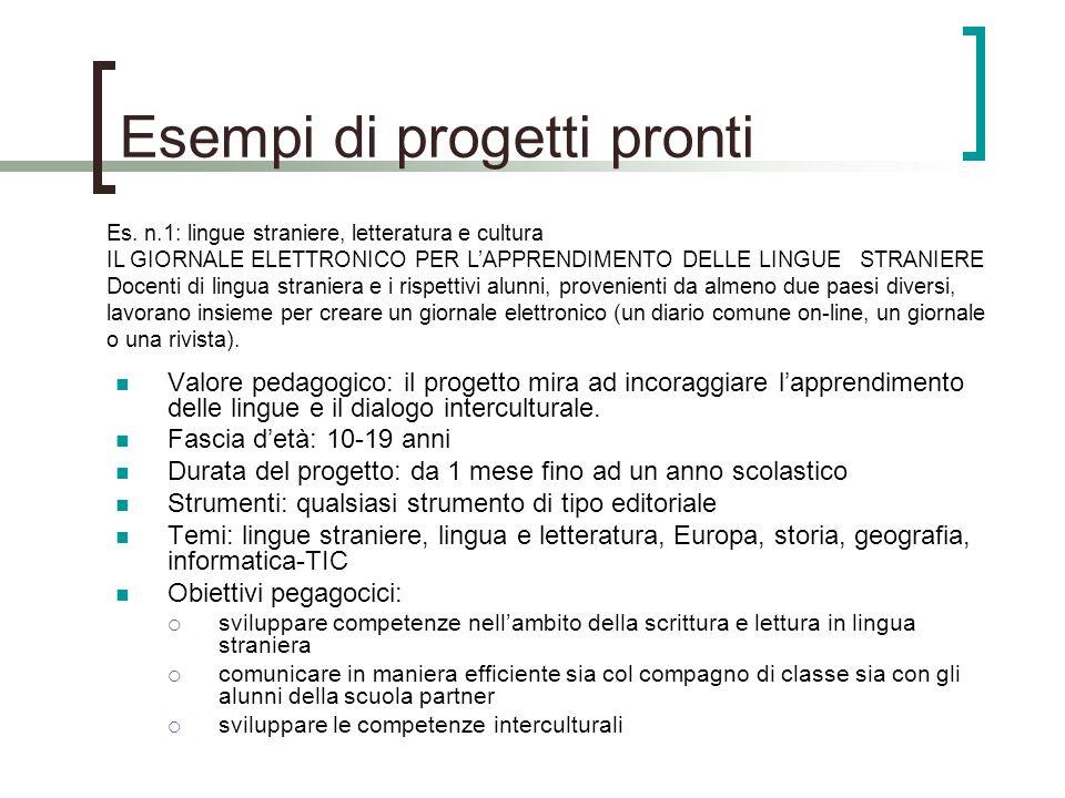 Esempi di progetti pronti Valore pedagogico: il progetto mira ad incoraggiare lapprendimento delle lingue e il dialogo interculturale.