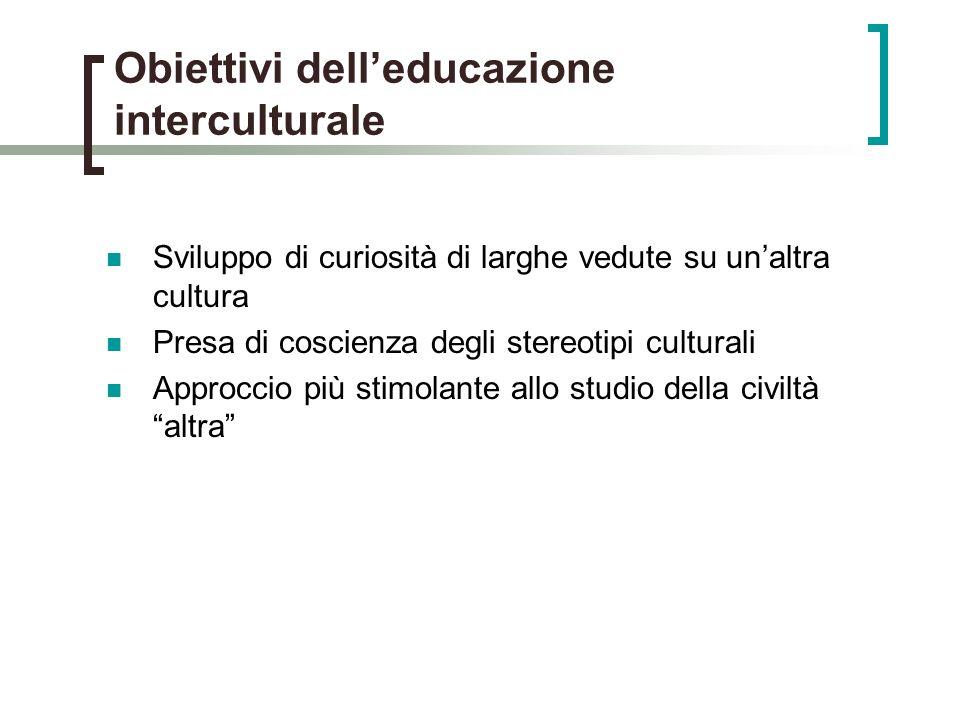 Obiettivi delleducazione interculturale Sviluppo di curiosità di larghe vedute su unaltra cultura Presa di coscienza degli stereotipi culturali Approccio più stimolante allo studio della civiltà altra