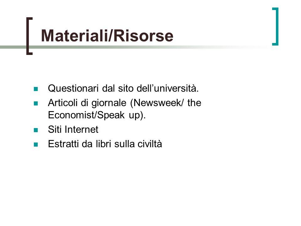 Materiali/Risorse Questionari dal sito delluniversità.