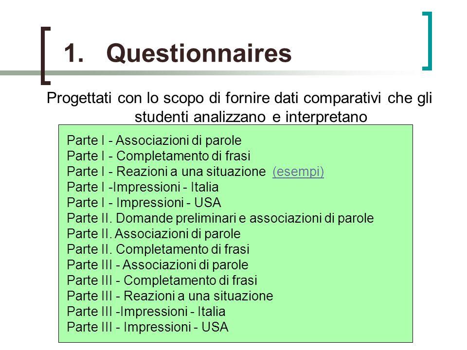 1.Questionnaires Progettati con lo scopo di fornire dati comparativi che gli studenti analizzano e interpretano Parte I - Associazioni di parole Parte I - Completamento di frasi Parte I - Reazioni a una situazione (esempi) Parte I -Impressioni - Italia Parte I - Impressioni - USA Parte II.