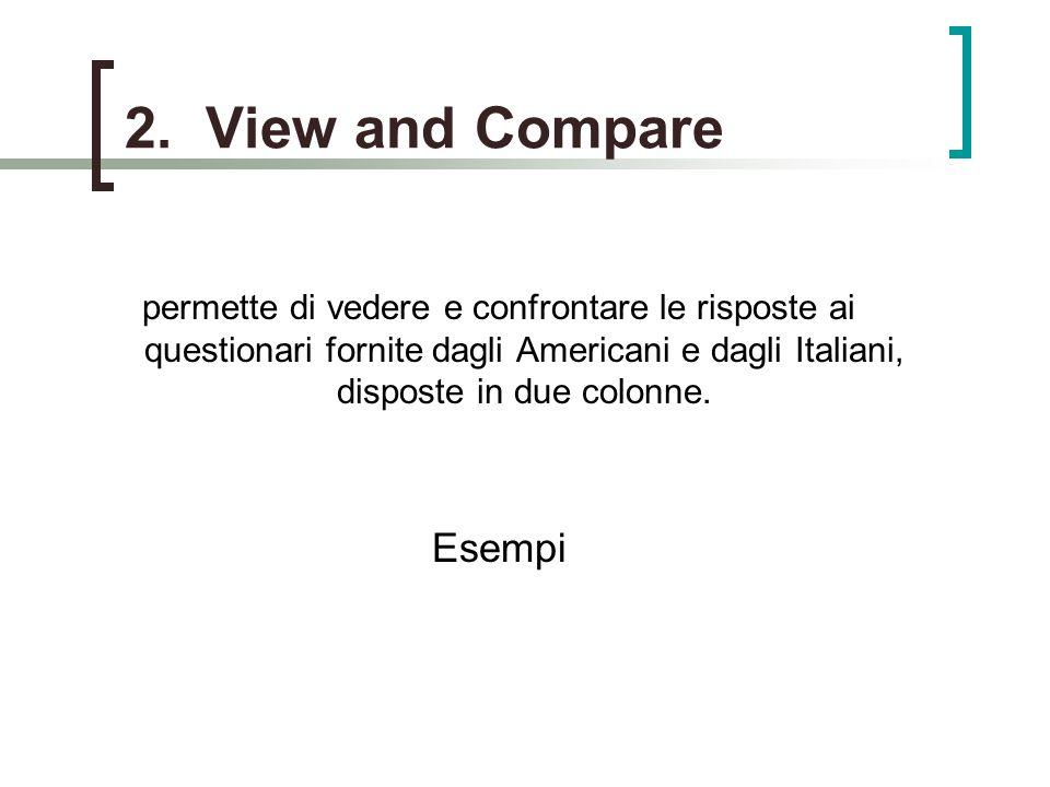 2. View and Compare permette di vedere e confrontare le risposte ai questionari fornite dagli Americani e dagli Italiani, disposte in due colonne. Ese
