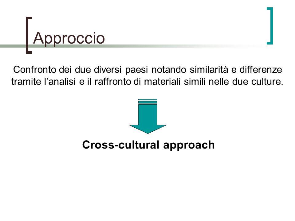 Approccio Confronto dei due diversi paesi notando similarità e differenze tramite lanalisi e il raffronto di materiali simili nelle due culture.