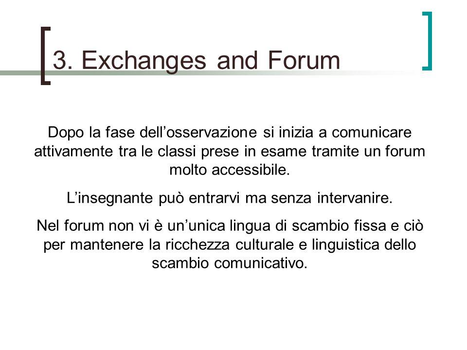 3. Exchanges and Forum Dopo la fase dellosservazione si inizia a comunicare attivamente tra le classi prese in esame tramite un forum molto accessibil