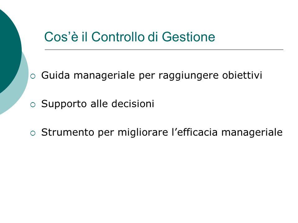 Cosè il Controllo di Gestione Guida manageriale per raggiungere obiettivi Supporto alle decisioni Strumento per migliorare lefficacia manageriale