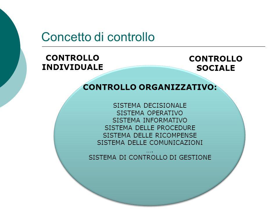 CONTROLLO INDIVIDUALE Concetto di controllo CONTROLLO ORGANIZZATIVO: CONTROLLO SOCIALE SISTEMA DECISIONALE SISTEMA OPERATIVO SISTEMA INFORMATIVO SISTE