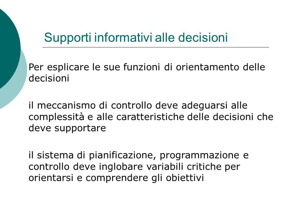 Supporti informativi alle decisioni Per esplicare le sue funzioni di orientamento delle decisioni il meccanismo di controllo deve adeguarsi alle compl
