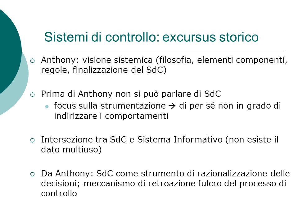 Sistemi di controllo: excursus storico Anthony: visione sistemica (filosofia, elementi componenti, regole, finalizzazione del SdC) Prima di Anthony no