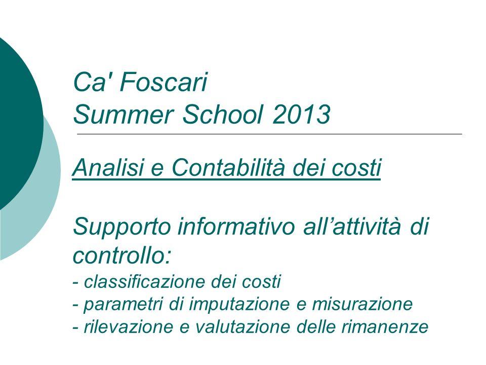 Ca' Foscari Summer School 2013 Analisi e Contabilità dei costi Supporto informativo allattività di controllo: - classificazione dei costi - parametri