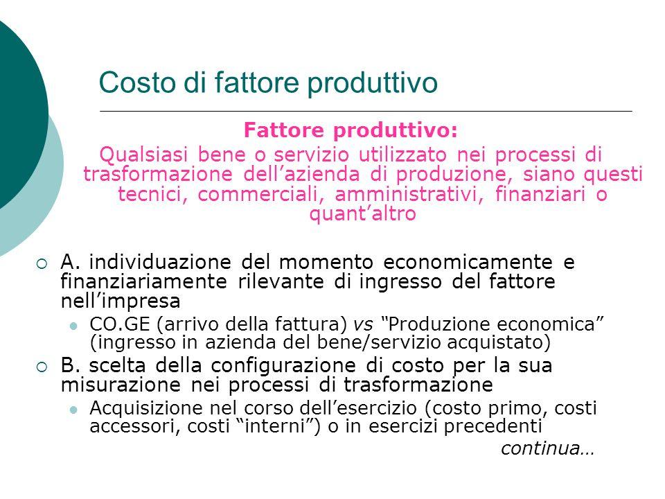 Costo di fattore produttivo Fattore produttivo: Qualsiasi bene o servizio utilizzato nei processi di trasformazione dellazienda di produzione, siano q