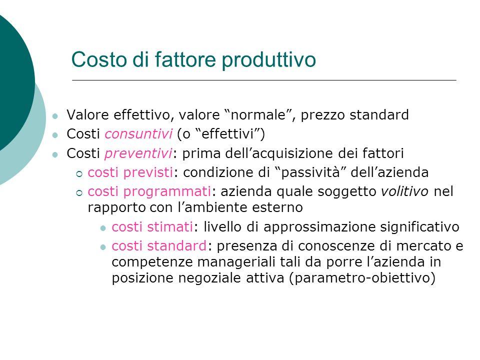 Costo di fattore produttivo Valore effettivo, valore normale, prezzo standard Costi consuntivi (o effettivi) Costi preventivi: prima dellacquisizione