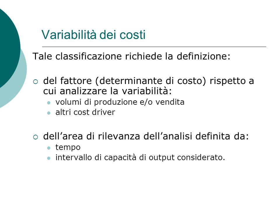 Variabilità dei costi Tale classificazione richiede la definizione: del fattore (determinante di costo) rispetto a cui analizzare la variabilità: volu
