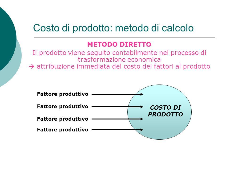 Costo di prodotto: metodo di calcolo METODO DIRETTO Il prodotto viene seguito contabilmente nel processo di trasformazione economica attribuzione imme
