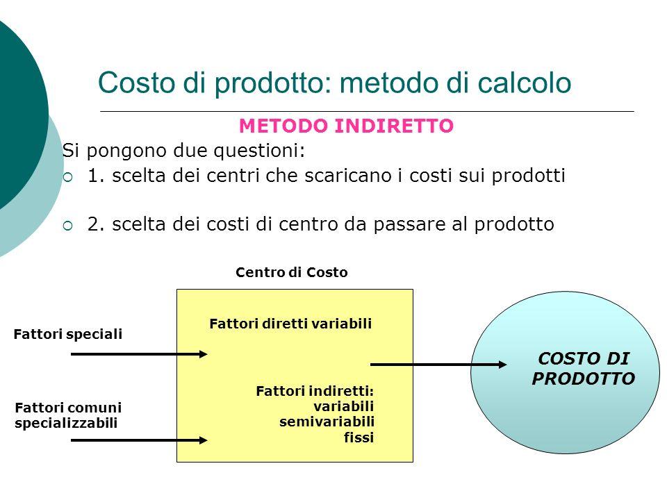 Costo di prodotto: metodo di calcolo METODO INDIRETTO Si pongono due questioni: 1. scelta dei centri che scaricano i costi sui prodotti 2. scelta dei