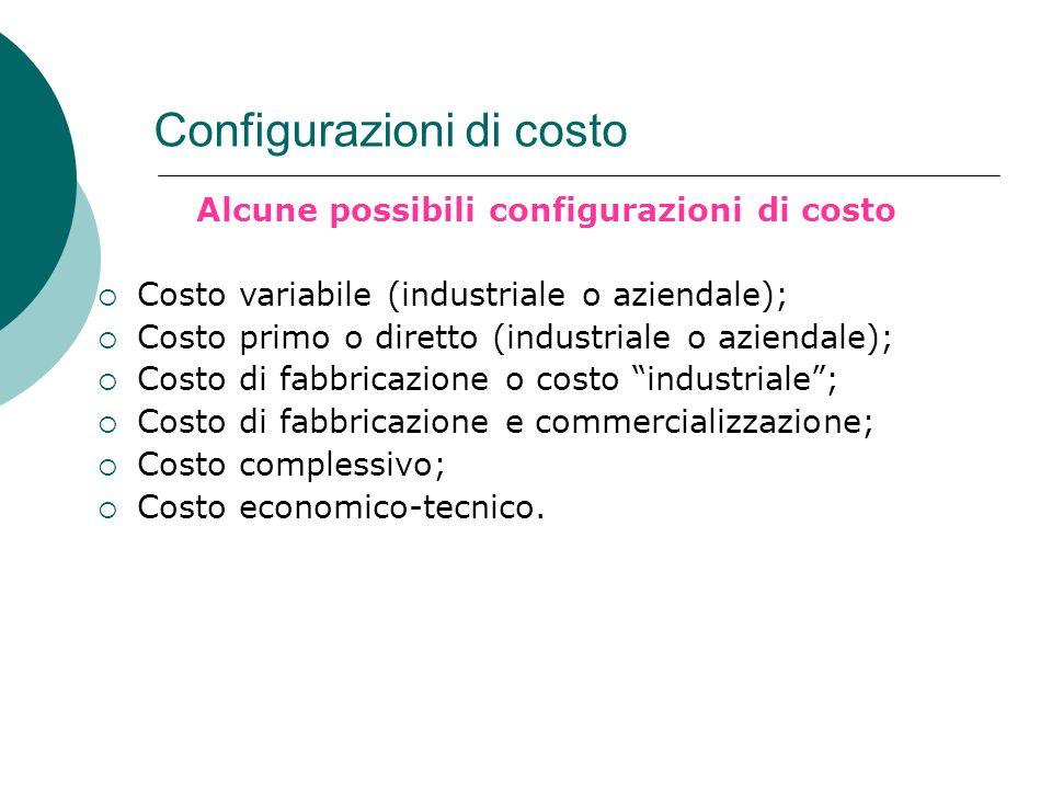 Configurazioni di costo Alcune possibili configurazioni di costo Costo variabile (industriale o aziendale); Costo primo o diretto (industriale o azien