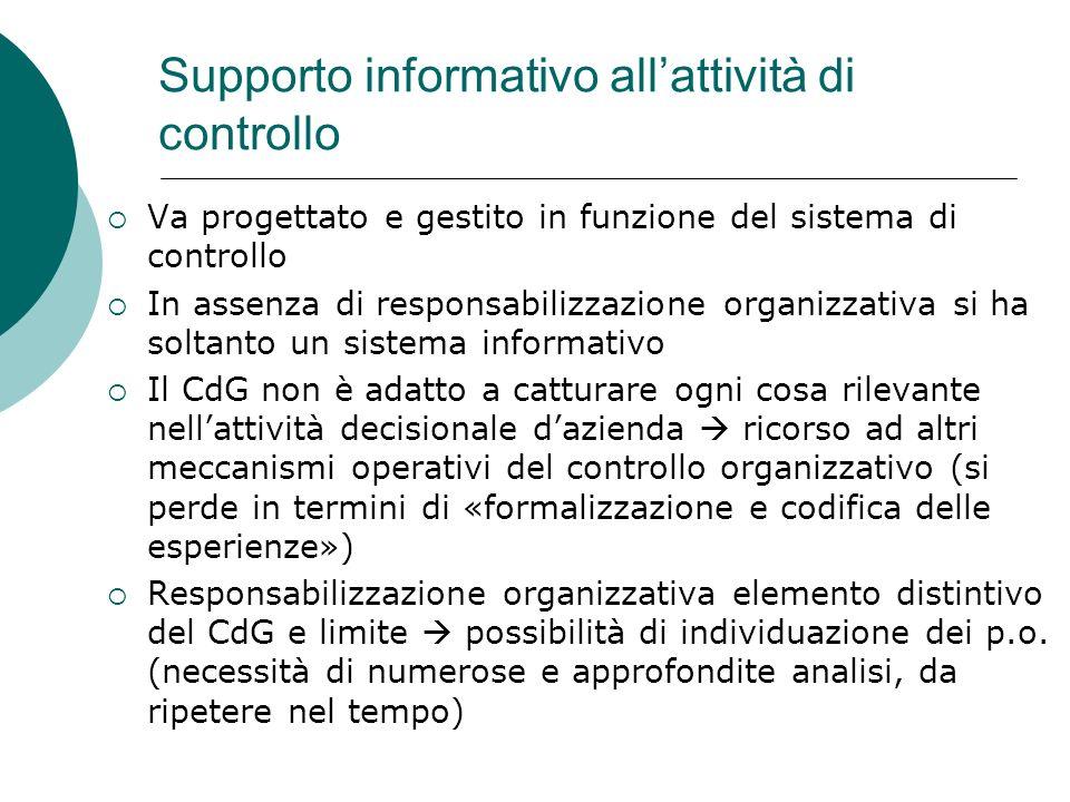 Supporto informativo allattività di controllo Va progettato e gestito in funzione del sistema di controllo In assenza di responsabilizzazione organizz