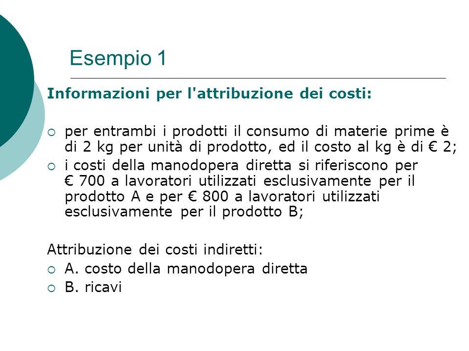 Esempio 1 Informazioni per l'attribuzione dei costi: per entrambi i prodotti il consumo di materie prime è di 2 kg per unità di prodotto, ed il costo