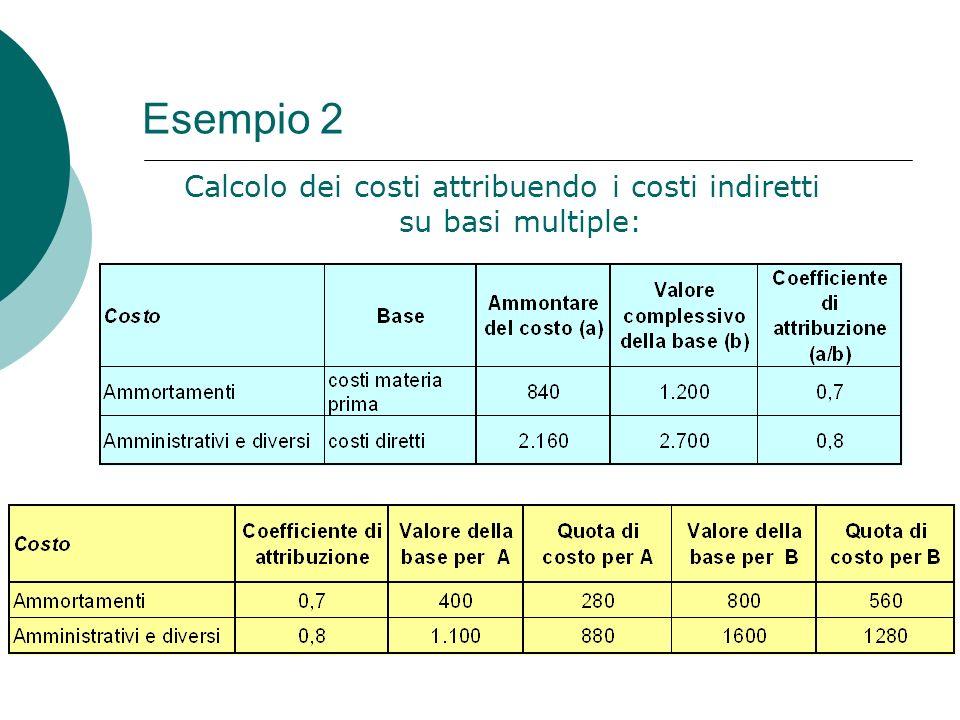 Esempio 2 Calcolo dei costi attribuendo i costi indiretti su basi multiple: