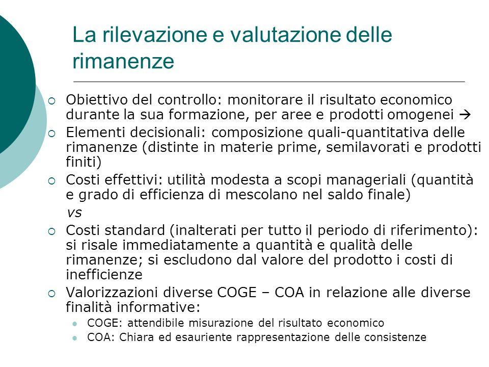 La rilevazione e valutazione delle rimanenze Obiettivo del controllo: monitorare il risultato economico durante la sua formazione, per aree e prodotti