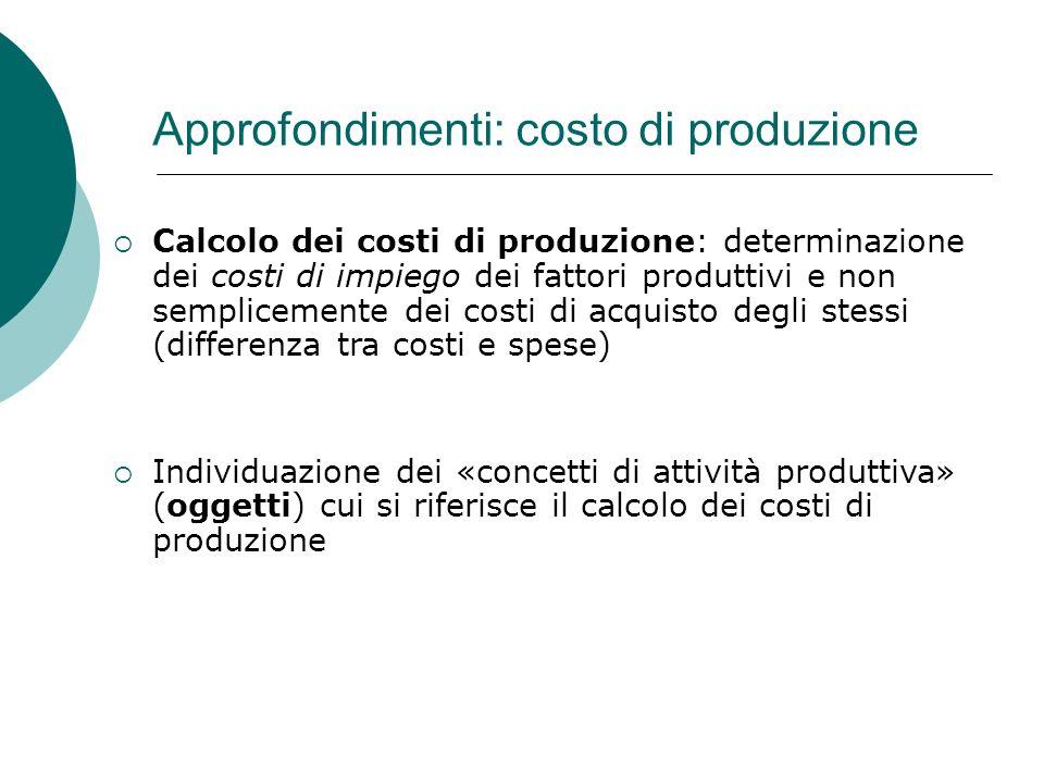 Approfondimenti: costo di produzione Calcolo dei costi di produzione: determinazione dei costi di impiego dei fattori produttivi e non semplicemente d