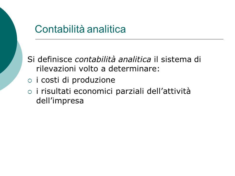 Contabilità analitica Si definisce contabilità analitica il sistema di rilevazioni volto a determinare: i costi di produzione i risultati economici pa