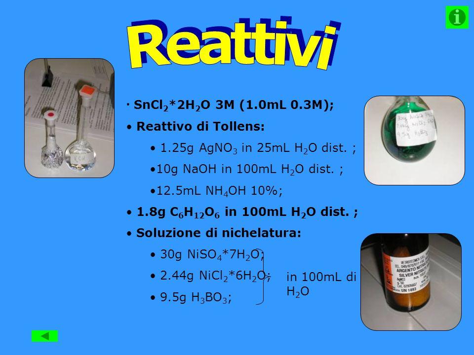 SnCl 2 *2H 2 O 3M (1.0mL 0.3M); Reattivo di Tollens: 1.25g AgNO 3 in 25mL H 2 O dist.