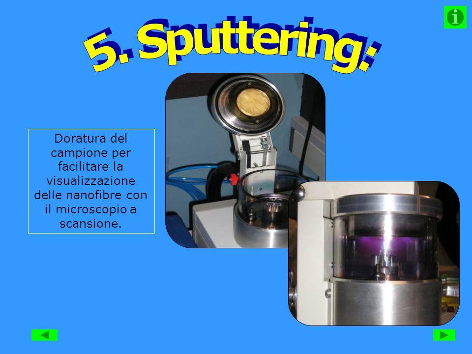 Doratura del campione per facilitare la visualizzazione delle nanofibre con il microscopio a scansione.