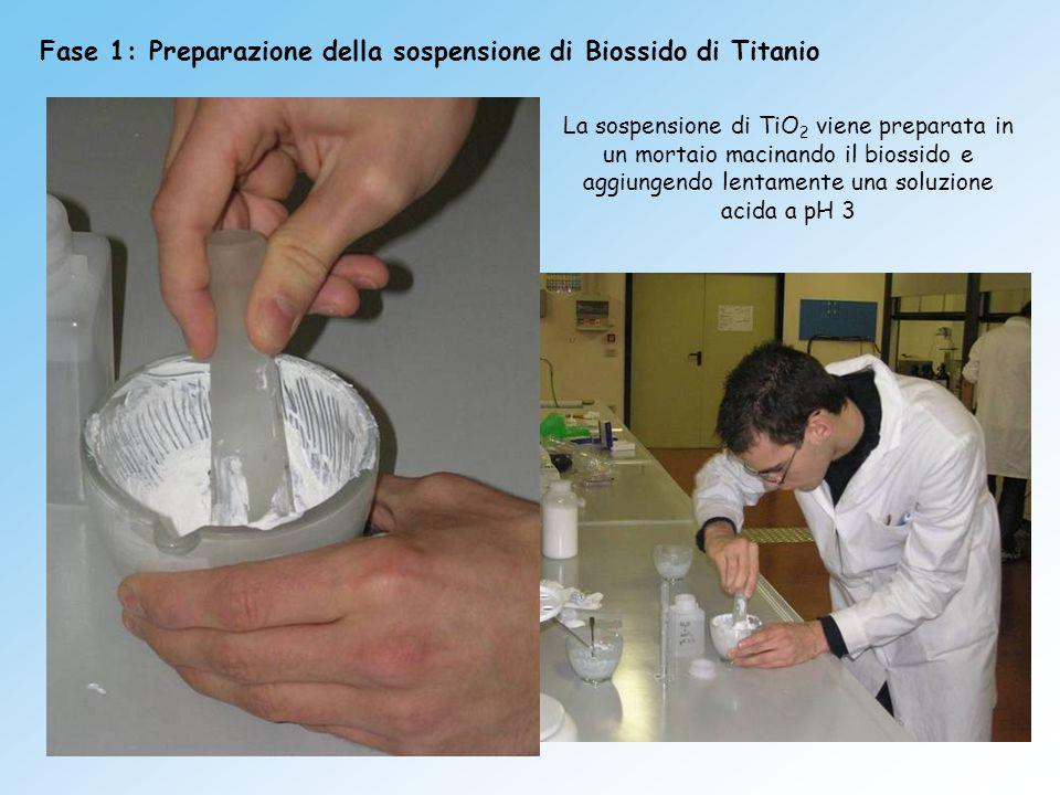Fase 1: Preparazione della sospensione di Biossido di Titanio La sospensione di TiO 2 viene preparata in un mortaio macinando il biossido e aggiungend