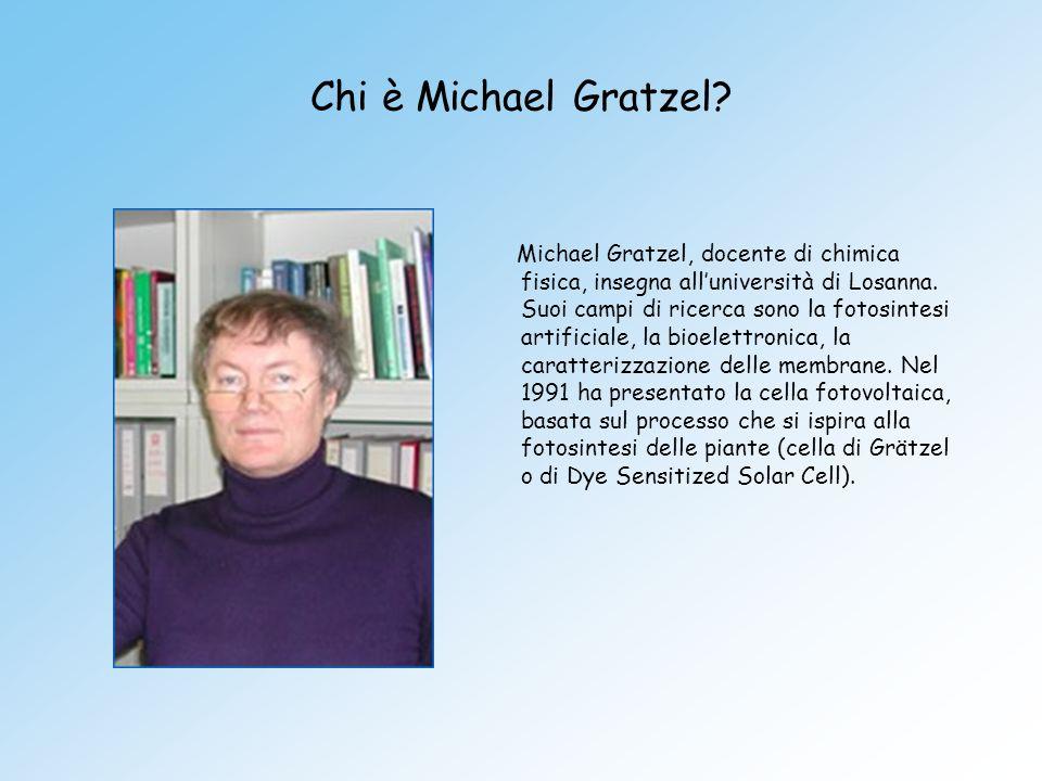 Chi è Michael Gratzel? Michael Gratzel, docente di chimica fisica, insegna alluniversità di Losanna. Suoi campi di ricerca sono la fotosintesi artific