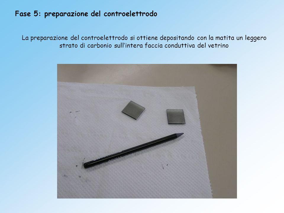 Fase 5: preparazione del controelettrodo La preparazione del controelettrodo si ottiene depositando con la matita un leggero strato di carbonio sullin